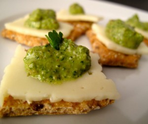 Cilantro Almond Pesto Canapes