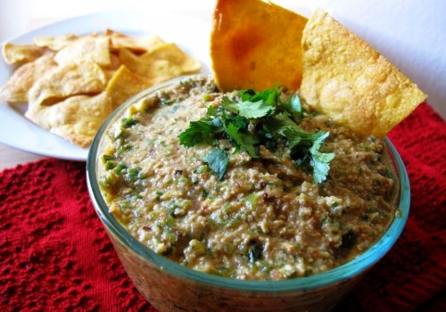 Cumin Baked Tortilla Chips and Pumpkin Seed Salsa