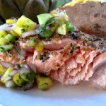 Cedar Plank Salmon With Fresh Mango Salsa