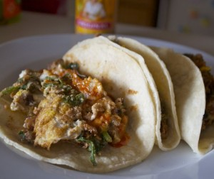 Egg, Bean, and Greens Breakfast Tacos