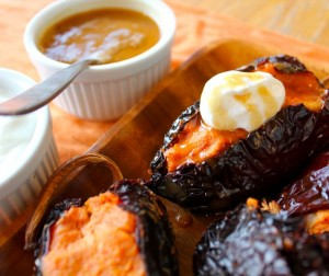 Sweet Potato-Stuffed Ancho Chiles With Burnt Caramel Sauce