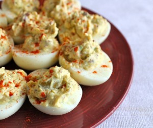 Olive Salad Deviled Eggs