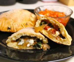 Veggie Calzone With Tomato Garlic Sauce