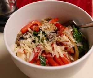 Gemelli With Roasted Veggies and Parmigiano-Reggiano
