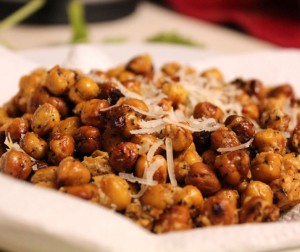 Roasted Chick Peas With Parmesan & Basil