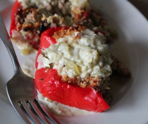 Quinoa-Stuffed Peppers in Tomatillo Cream Sauce