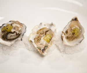 Raw Oysters With Granita and Pickled Kiwis